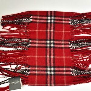 BURBERRY London Red Nova Check Cashmere Scarf (np)